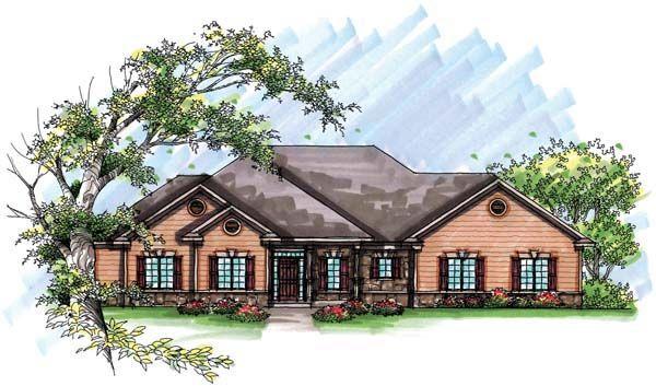 Country European Ranch House Plan 72936