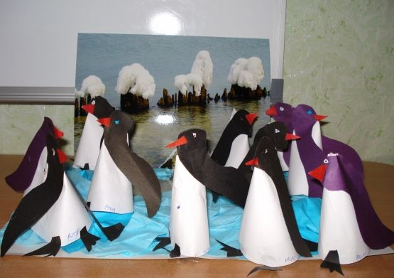 Artistieke Creativiteit van Kinderen. Dieren van de Noordpool en de Zuidpool. - kleuterschool