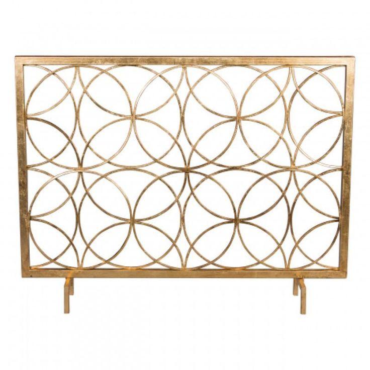 modern geometric flat panel encircled fireplace screen
