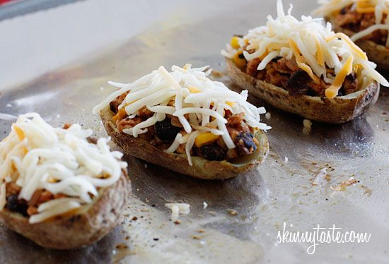Loaded Turkey Santa Fe Baked Potato Skins. This is a very versatile ...