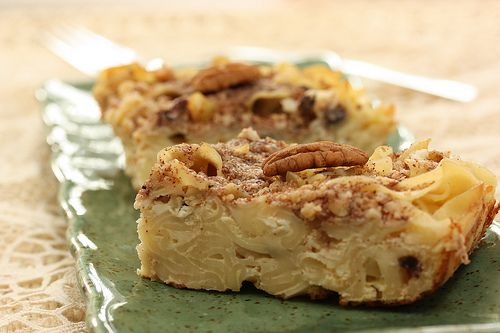 Kugel. a sweet breakfast of noodles, eggs, sour cream, cottage cheese ...