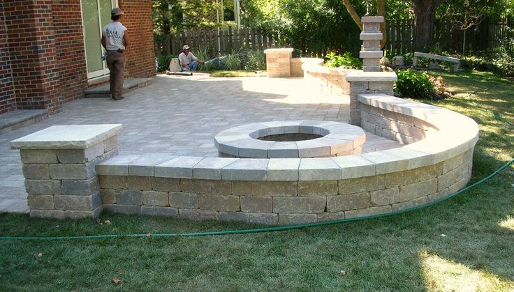 Patio fire pit and sitting wall backyard ideas pinterest for Patio and retaining wall ideas