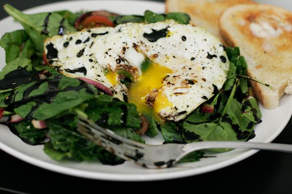 Fried Egg over Baby Greens with Balsamic Drizzle