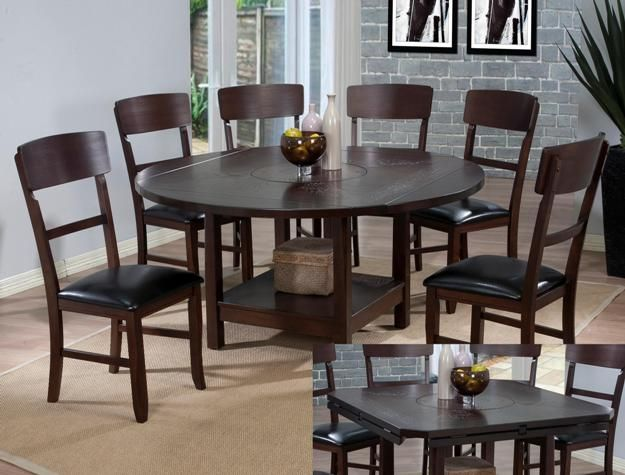 finish wood drop leaf dining table set with built in lazy susan