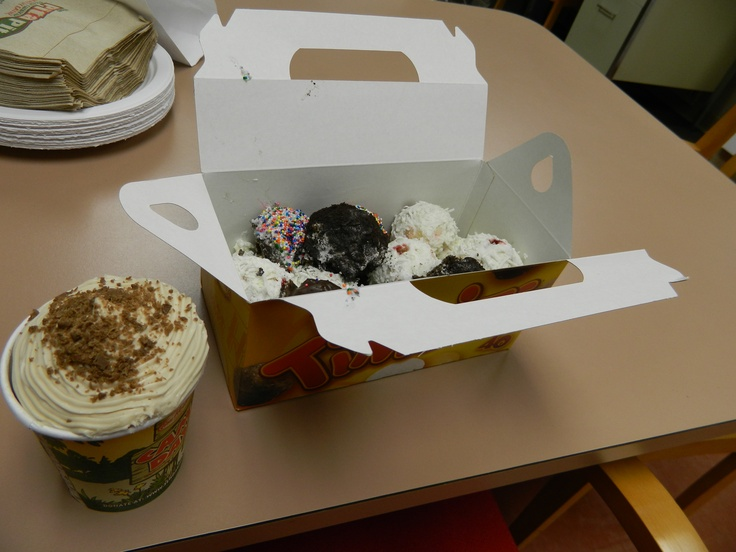 "Cafe Mocha Tim Hortons cupcakes with four different flavors of ""Timbit ..."