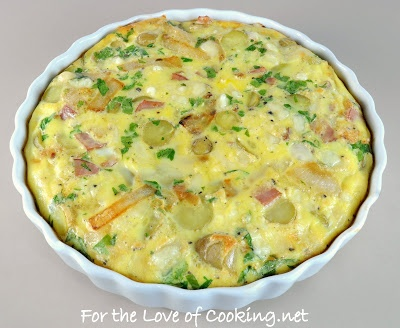 Caramelized Onion and Potato Frittata with Ham and Swiss.