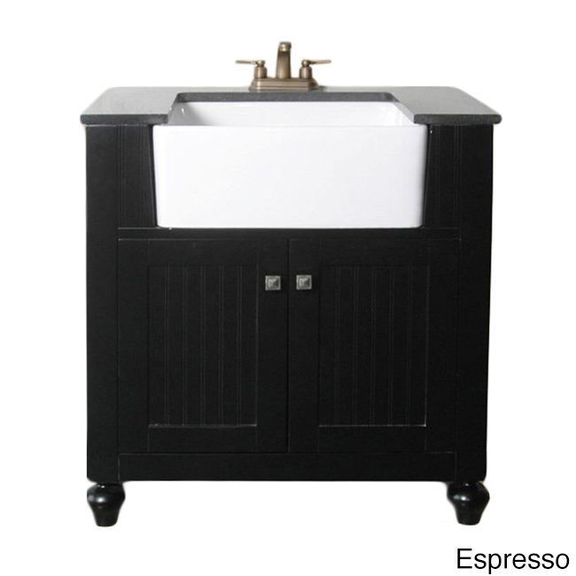 Apron Sink For Bathroom : Granite Top 30-inch Farmhouse Apron Style Single-sink Bathroom Vanity