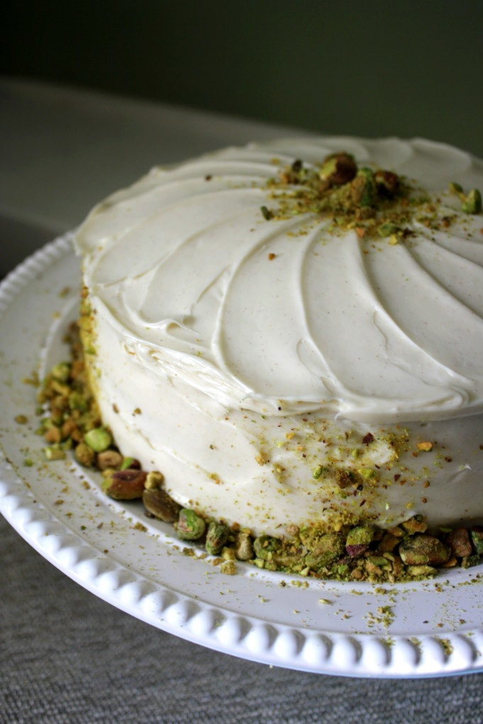 Pistachio-Carrot Cake with Maple Cream Cheese Frosting