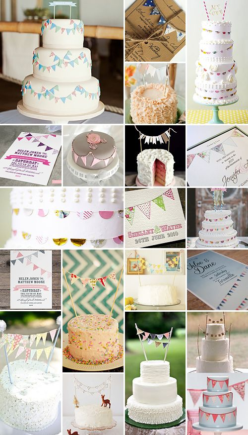 Itty bitty bunting for wedding cakes, on invitations, or decorations ...