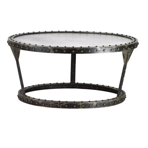 Industrial metal round coffee table Industrial metal coffee table
