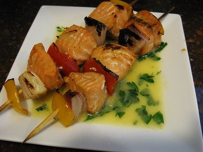 Salmon on Skewers in Wine Sauce