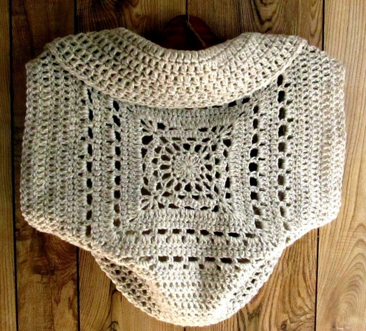 Crochet Granny Square Sweater Pattern : Crochet Pattern Ladies Shrug Granny Square Circle Sweater ...