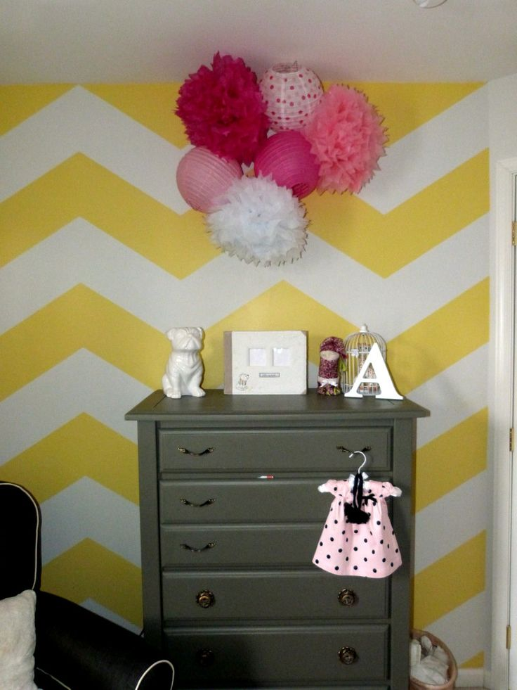 Holy Chevron! Love the yellow. Project Nursery - Yellow and White Chevron Accent Wall for the Nursery