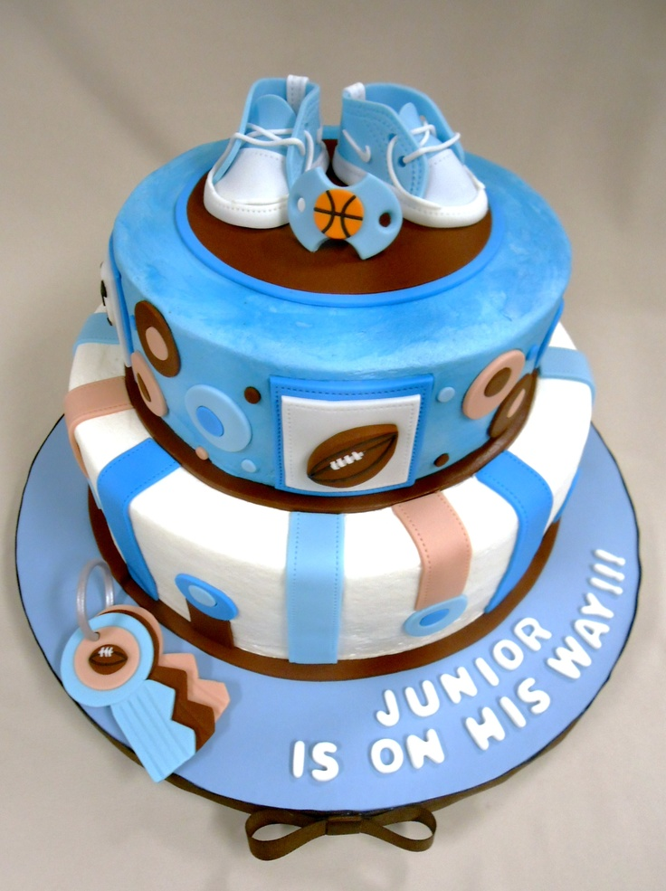 custom sports themed baby shower cake with fondant detailing custom