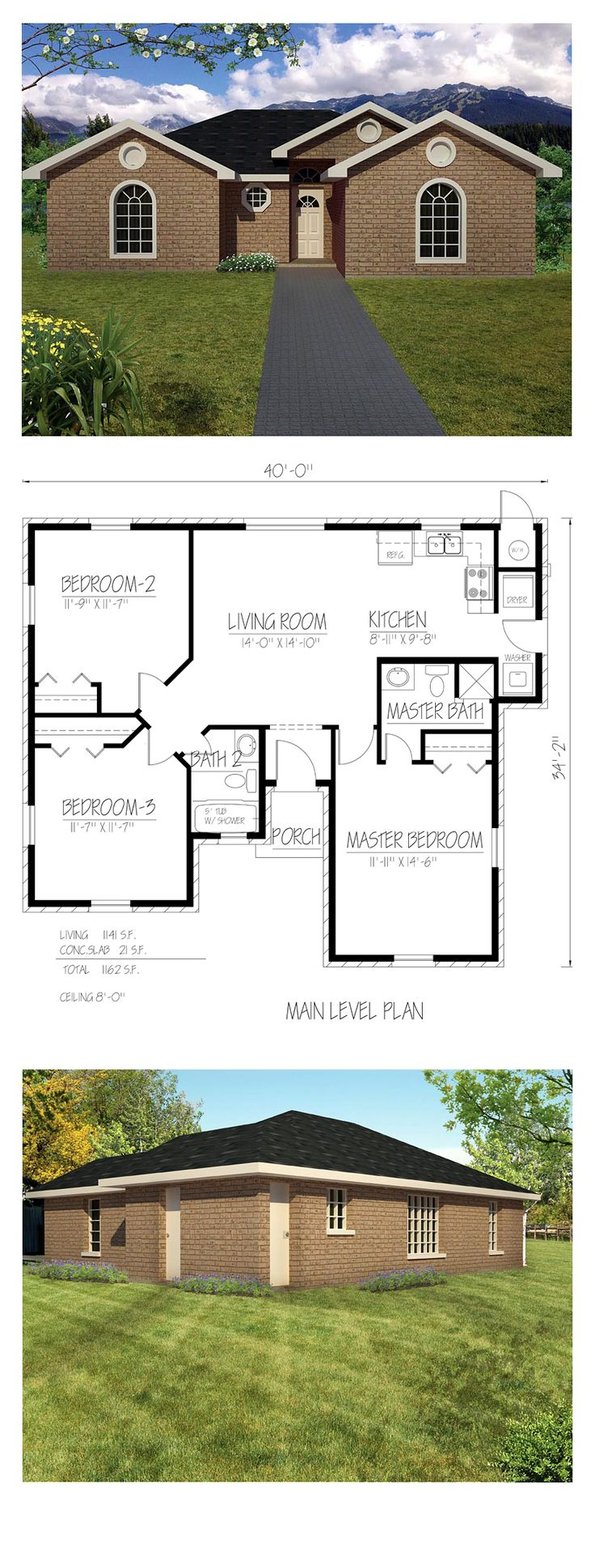 Southwest house plan 71921 total living area 1141 sq for Southwest home plans
