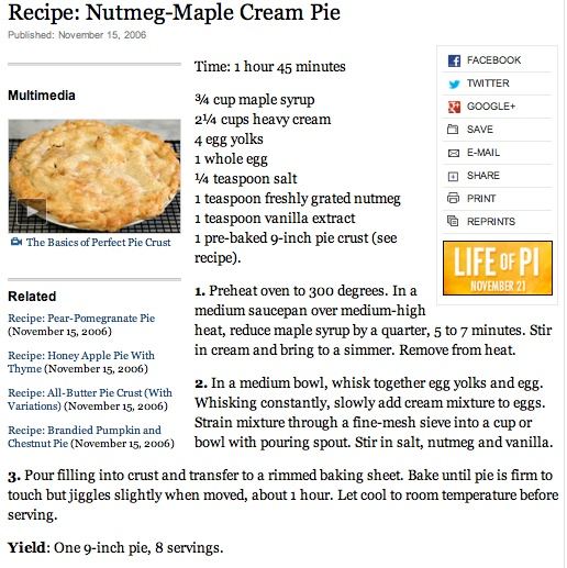 Nutmeg-Maple Cream Pie | Sweet Tooth | Pinterest