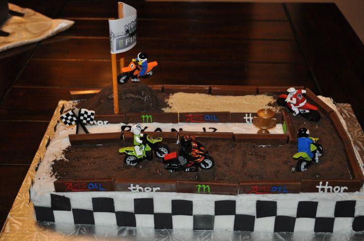 Cake Decorating Dirt Bike Track : Motocross Energy dirt bike track cake boy birthday cake ...