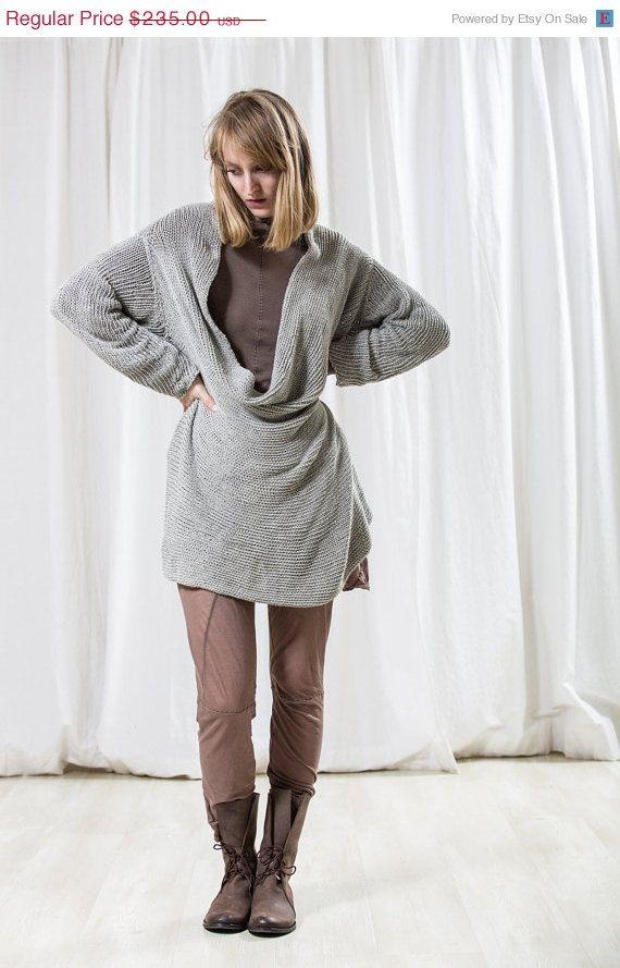 Chunky grey soft women jacket handmade knitted sweater knitting ec