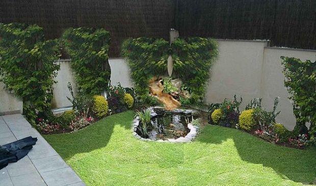 Peque o jard n con estanque gardens jardines pinterest - Jardin con estanque ...