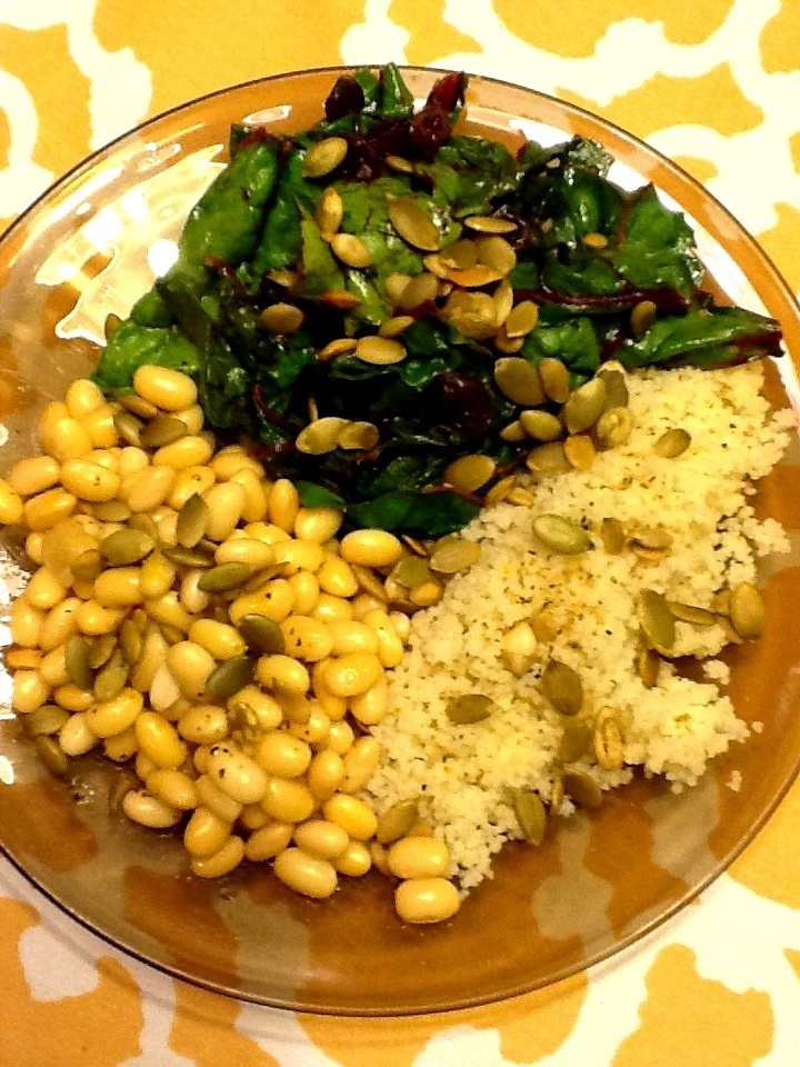 Soybeans with couscous & Swiss chard | Cookbook | Pinterest