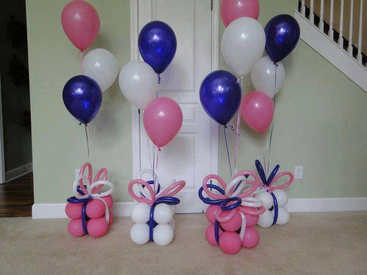Present balloon pillar balloons pinterest for Balloon decoration ideas pinterest