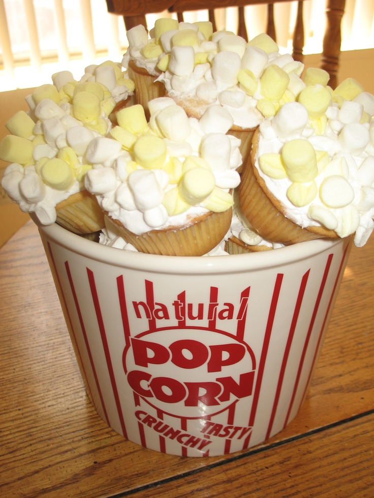 Popcorn Cupcakes/cute for a movie night at home with the kiddos