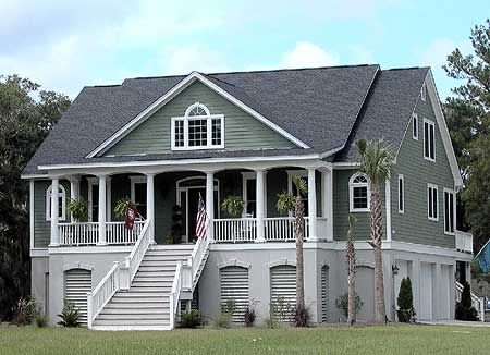 3 bedroom low country with media room for Low country house plans with porches