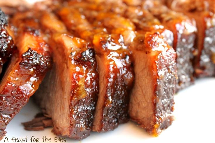 Feast for the Eyes: Braised Brisket with Bourbon-Peach Glaze