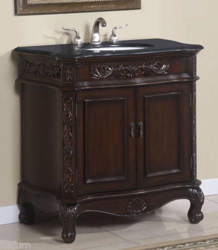 34 inch single sink bathroom vanity cabinet with black granite top