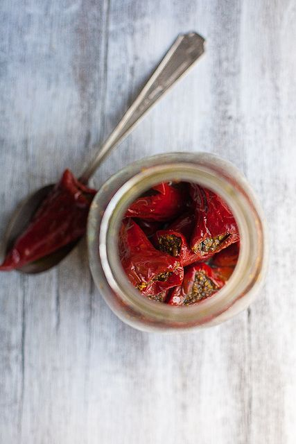 Pickled red chili peppers by IndianSimmer, via Flickr