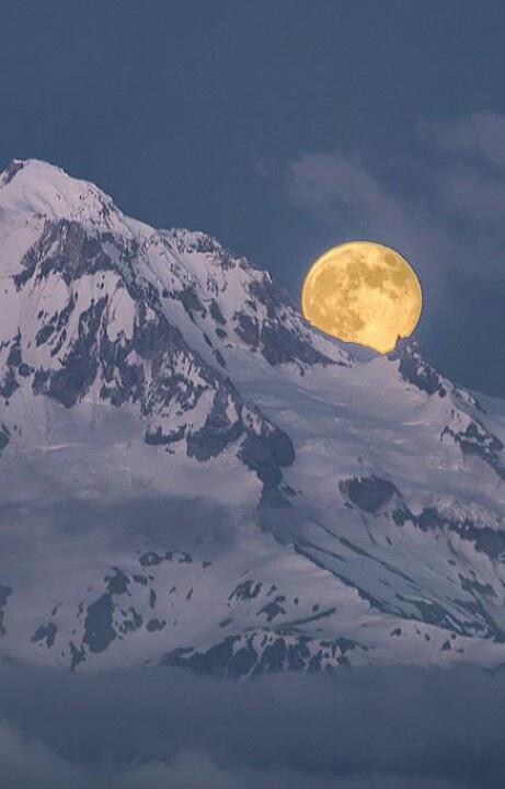 winter snow mountain moon - photo #9