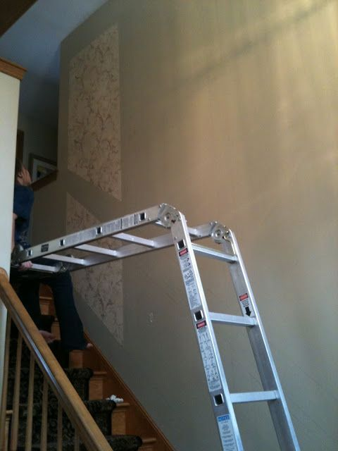 How to set up ladder for wall at stairs decor ideas - Ladders for decorating stairs ...