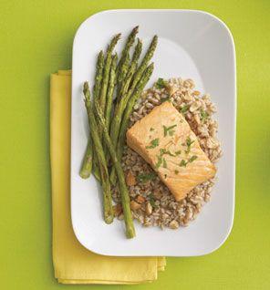 Orange Salmon Over Farro With Asparagus - 453 calories, 16 g fat (3 g ...