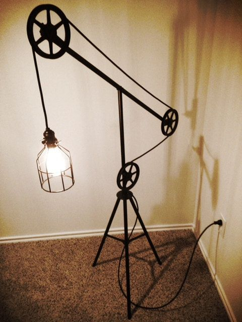 industrial style pulley floor lamp on etsy. Black Bedroom Furniture Sets. Home Design Ideas
