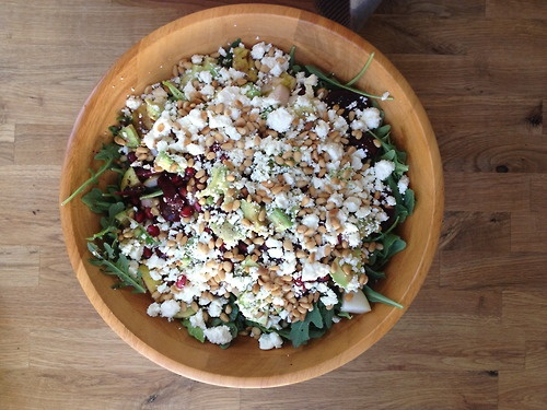 arugula salad with pomegranate seeds, pine nuts, and goat cheese ...