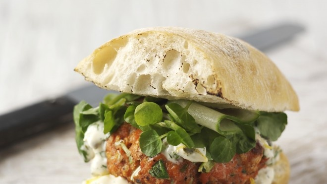 Grilled Fresh Salmon Burgers With Caper Mayonnaise Recipe ...
