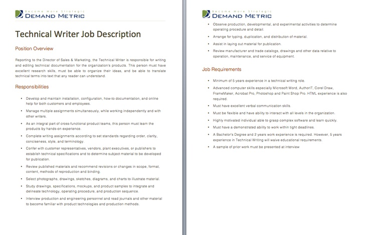 technical writing job description Job description writing guide - 3 - job duties the job duties section is the foundation of the job description it conveys the complexity, scope, and level of.