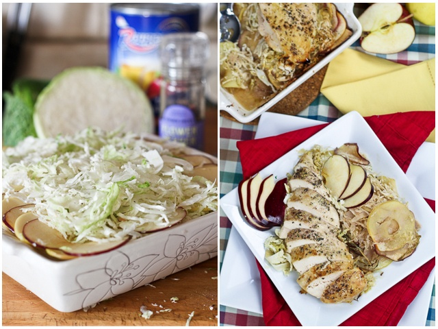 Apple and Cabbage Oven Baked Chicken | Recipe