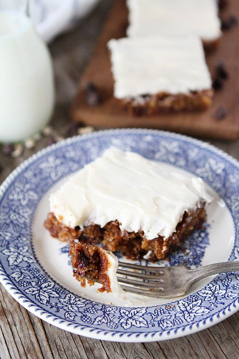 Chocolate Chip Oatmeal Cake with Cream Cheese Frosting Recipe on ...