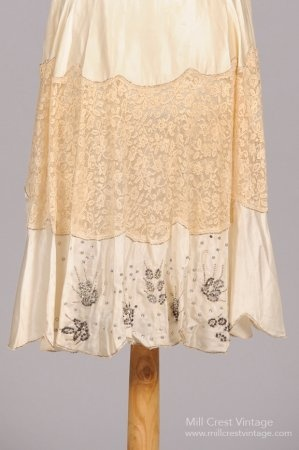 1920's Champagne Silk & Steel Beaded Vintage Wedding Dress : Mill Crest Vintage