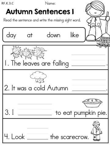 Kindergarten Autumn word Arts builder worksheet  Worksheets sight Language