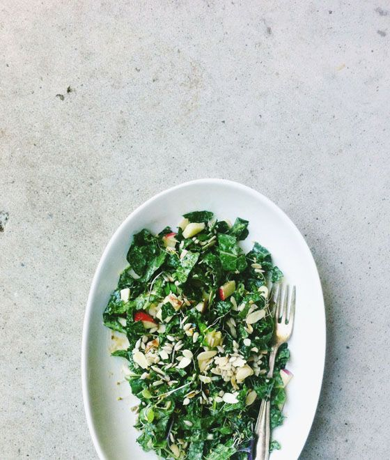 ... , nutty kale and apple salad w/ miso tahini dressing via Seven Spoons