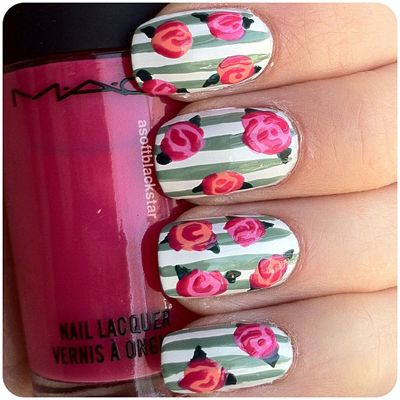 Rose and stripe nail art design