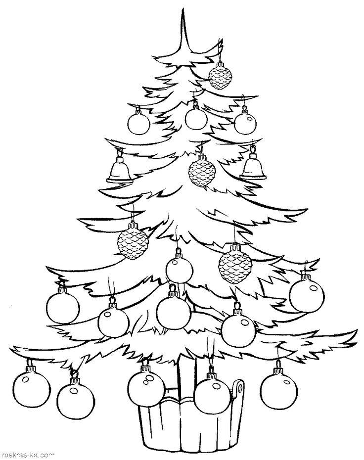 Большая новогодняя раскраска елка