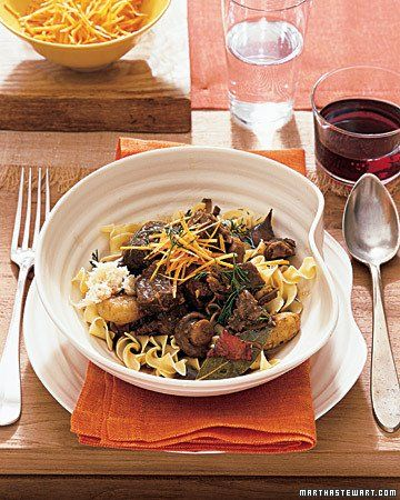 Stout and Beef Stew Served Over Egg Noodles | Recipe