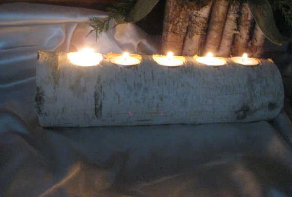 birch log tea light candle holder wedding home decor