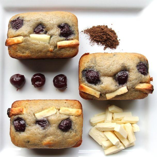 white chocolate dark cherry muffins. What! I love cherries!!