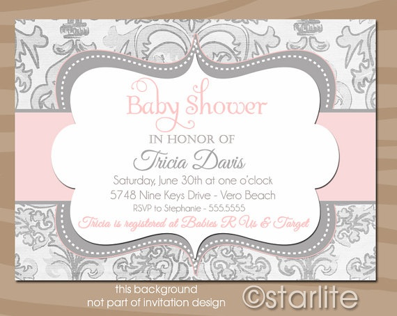 shimmer pink gray baby shower invitation pink and gray grey baby