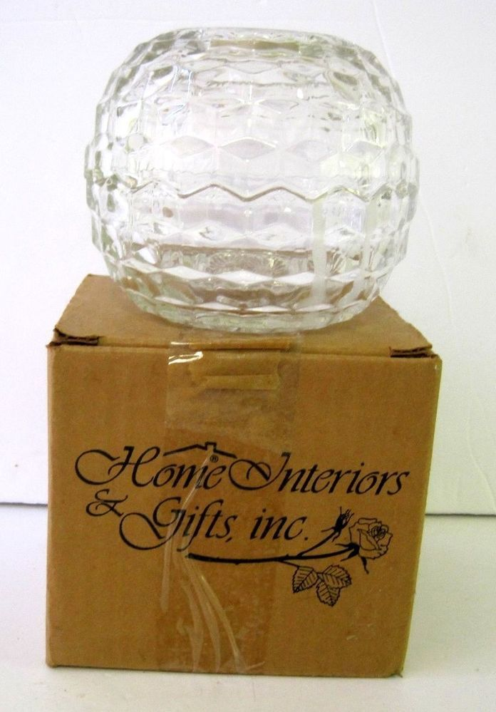 Home Interior Gifts Glass Candle Votive 1140-BD with Box Candle Holder