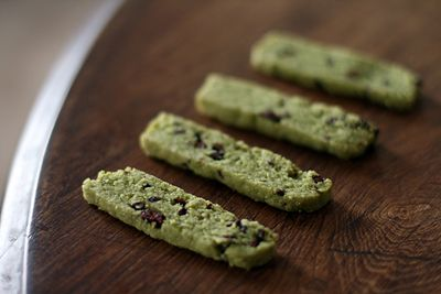 Green Tea Cookies with Cacao Nibs